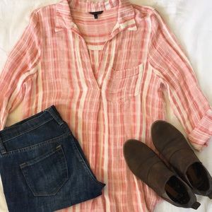 Staccato red and white plaid collared shirt